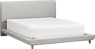 "Rivet York Modern Extended Low Platform King Bed with Headboard, 90.2""L, Grey"