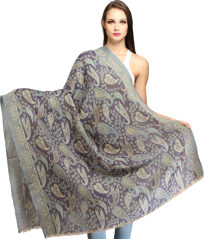 Exotic India Folkstone-Gray Reversible Jamawar Shawl with Woven Paisleys - Blue