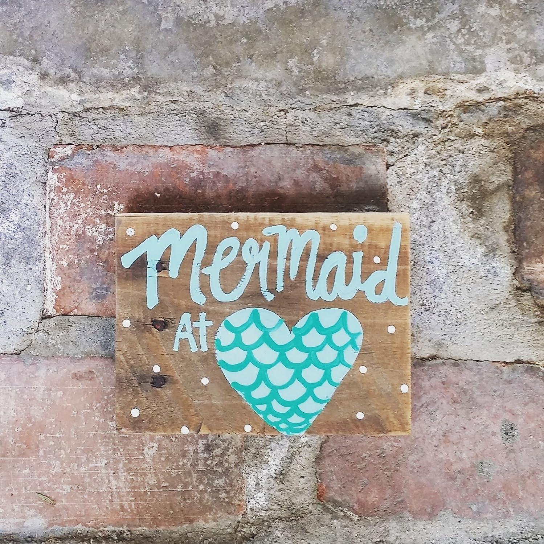 Mermaid At Ranking TOP18 Heart Wood Pallet Sign Mail order cheap