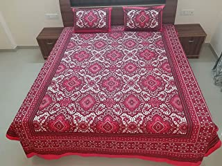 SNS Creations Traditional Printed 100% Pure Cotton Printed Double Bedsheet with 2 Pillow Covers, King (Pink)