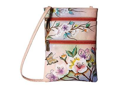 Anuschka Handbags Mini Double Zip Travel Crossbody 448 (Japanese Garden) Cross Body Handbags