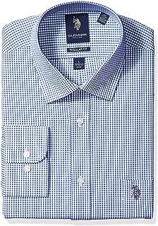 U.S. Polo Assn. Mens Regular Fit Check Semi Spread Collar Dress Shirt Dress Shirt