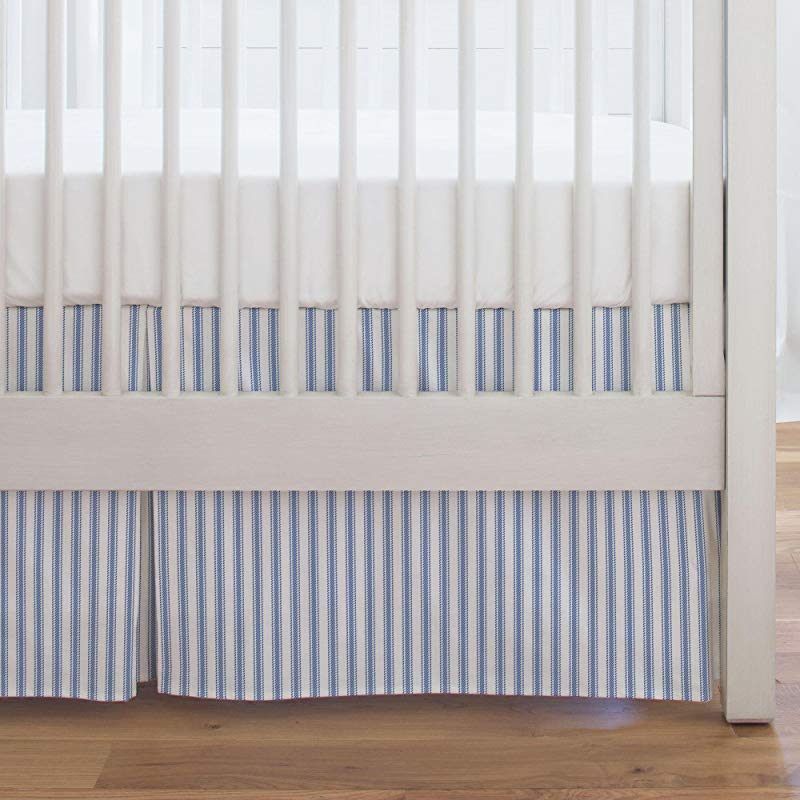 Carousel Designs Ocean Blue Ticking Stripe Crib Skirt Single Pleat 17 Inch Length Organic 100 Cotton Crib Skirt Made In The USA