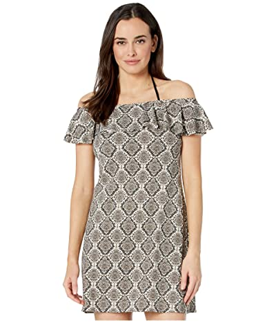 Tommy Bahama Desert Python Ruffle Spa Dress Cover-Up (Caffe) Women