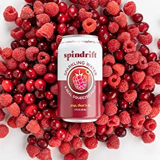 Spindrift Sparkling Water, Cranberry Raspberry Flavored, Made with Real Squeezed Fruit, 12 Fl Oz Cans, Pack of 24 (Only 8 ...