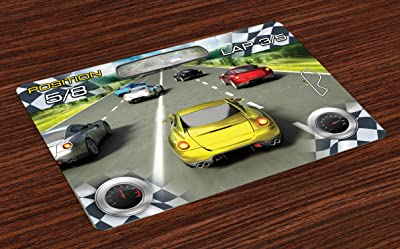 Ambesonne Cars Place Mats Set of 4, Car Racing Speedy Inspired Illustration Need for Speed