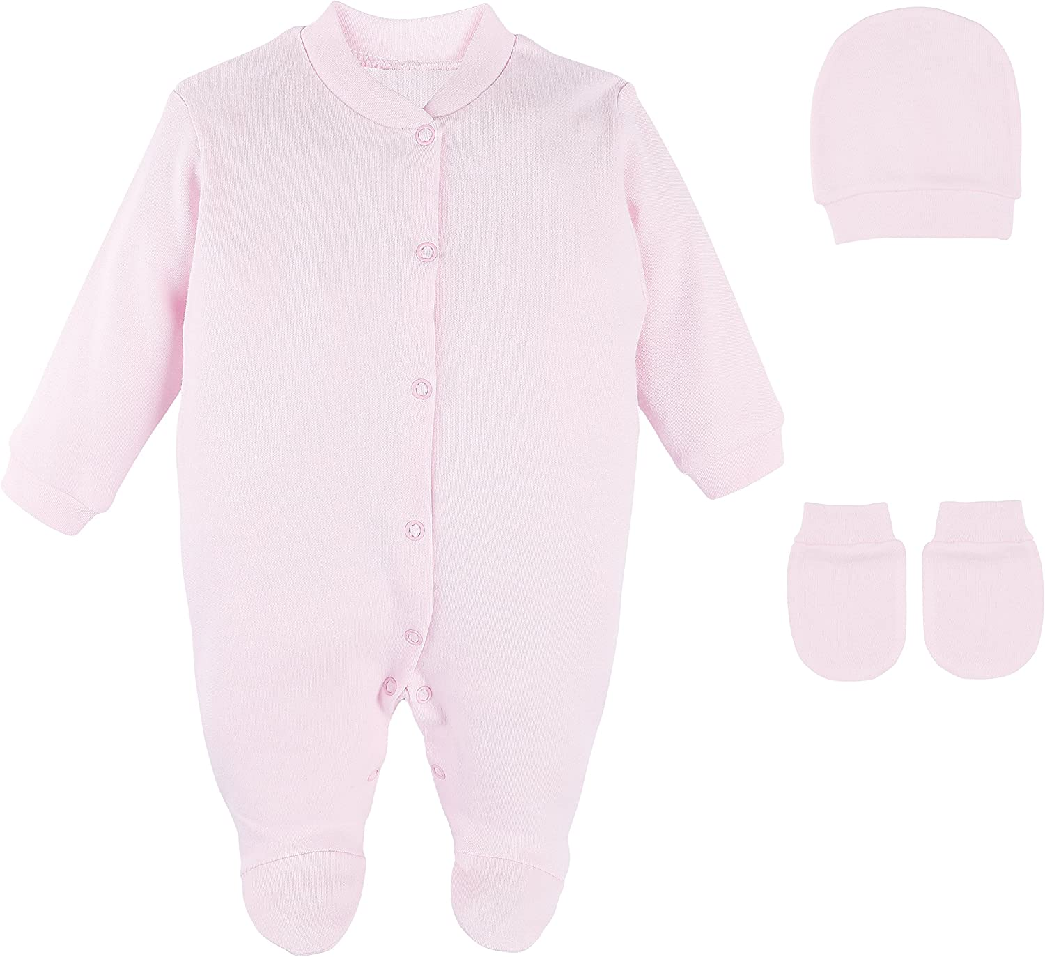 Lilax Baby Girl 3 Piece Solid Color Soft Cotton Footie Hat and Mittens Layette Gift Set