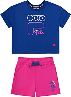 Fila Heritage Girls Two (2) Piece Tee Shirt and Short Set Kids Clothes