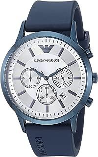 Emporio Armani Men's Renato Stainless Steel Analog-Quartz Watch with Rubber Strap, Blue, 22 (Model: AR11026)
