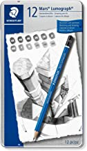 Staedtler Mars Lumograph Art Drawing Pencils, 12 Pack Graphite Pencils in Metal Case, Break-Resistant Bonded Lead, 100 G12
