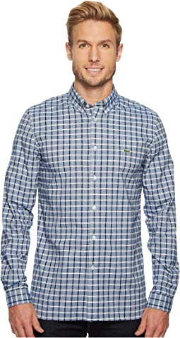 Long Sleeve Oxford Check Button Down Collar Slim