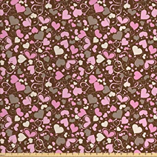 Lunarable Hearts Fabric by The Yard, Surrealism Inspired Valentines Day Illustration Dotted Lines Swirls and Hearts, Decorative Fabric for Upholstery and Home Accents, 1 Yard, Brown Cream