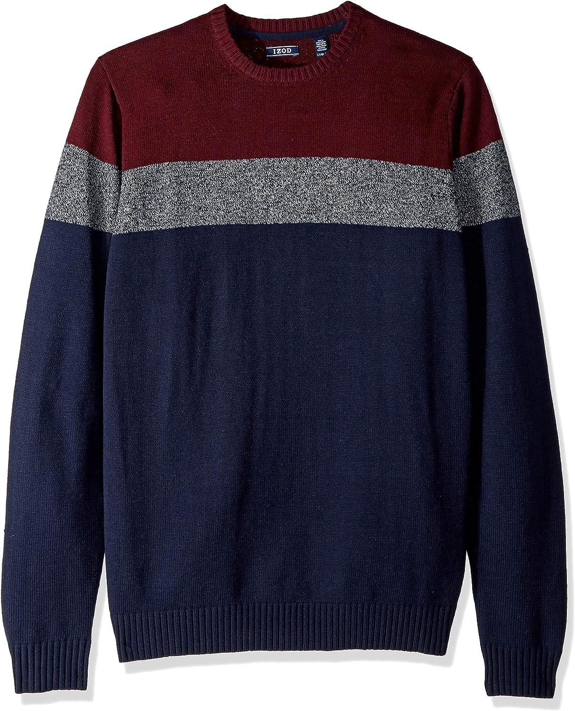 IZOD Men's Big and Tall Stripe 7 Gauge Crewneck Sweater