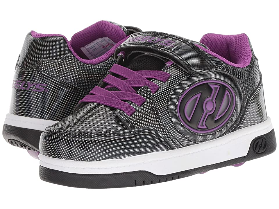 Heelys Plus X2 Lighted (Little Kid/Big Kid) (Black Sparkle/Purple) Girls Shoes