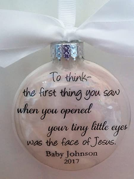 Miscarriage Gift In Memory Christmas Ornament Keepsake First Thing You Saw Face Of Jesus W Charm Miscarry Remembrance