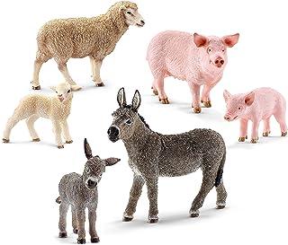 Schleich Farm World, Farm Animal Toys for Kids Ages 3+, 6-Piece Mom and Baby Toy Farm Animal Set