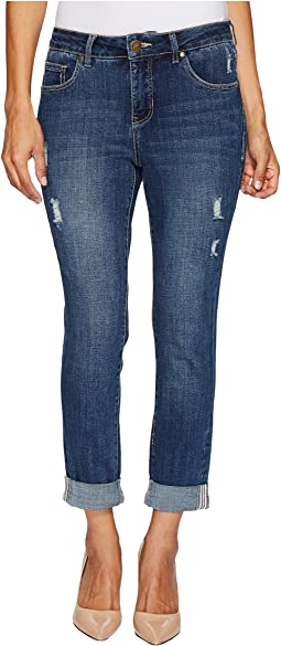 Petite Carter Girlfriend Crosshatch Denim Jeans in Thorne Blue w/ Destruction