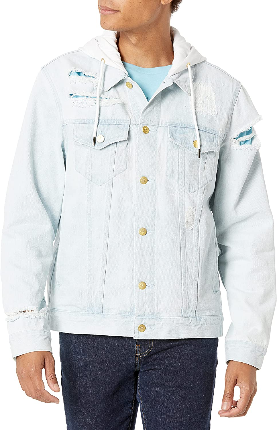 LRG Men's Lifted Research Collection Hooded Denim Jacket