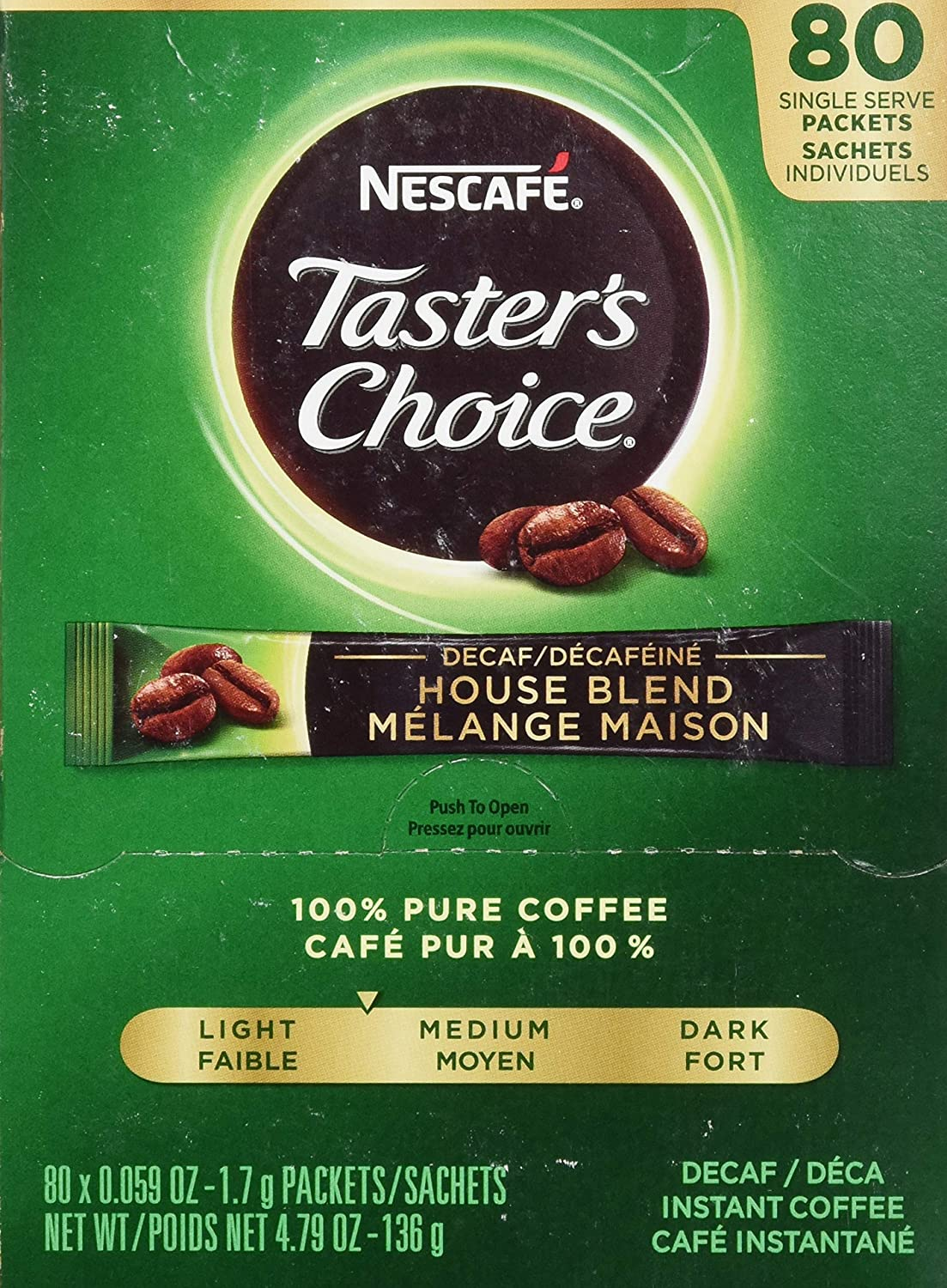 Nescafe Taster's Choice Instant Coffee, Decaffeinated, 80 Count Single Stick