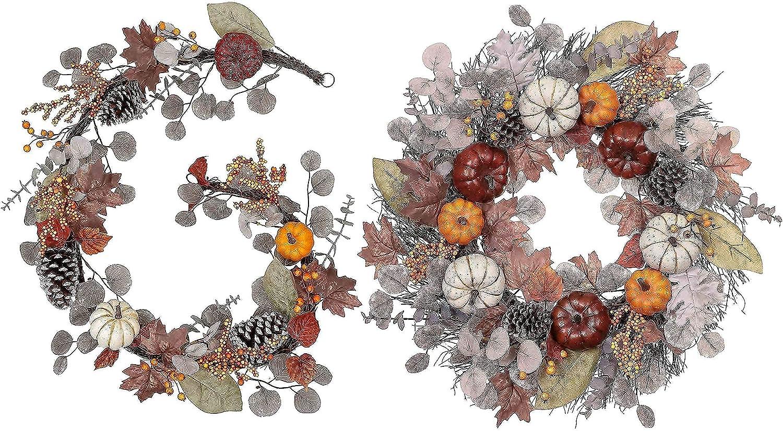 Fall Wreath Garland Value Bundle Quantity limited W 24 Inch Pumpkin Elegant 2pcs