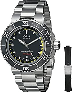 Oris Mens 73376754154SET Analog Display Automatic Self Wind Silver Watch with Extra Black strap
