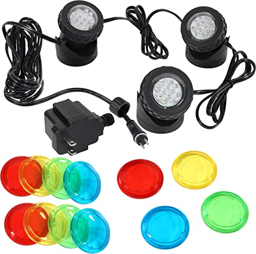 discount Sunnydaze high quality Submersible Electric LED Spotlight Kit with Transformer, Spot high quality Lights for Aquarium, Garden, or Pond, 3-Pack outlet online sale
