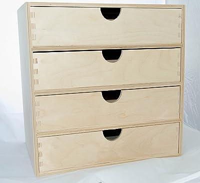 Decocraft 1 x Plain de Madera Armario estantería para estantería con cajones de Almacenamiento Unidad de