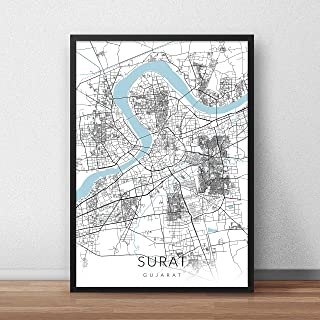 Recollection Surat City Map Art Print Poster 12 x 18 inch Wall Decor for Home Office Restaurant Hotel Interior Decoration-...