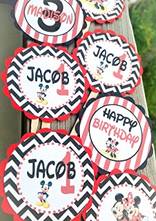 12 Cupcake Toppers - Mickey & Minnie Mouse Inspired Happy Birthday Collection - Black Chevron Red Stripes - Party Packs Available