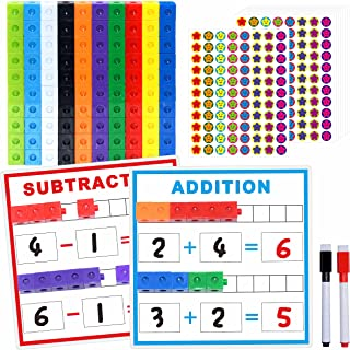 SpriteGru Math Linking Cubes, Math Cubes Manipulatives with Activity Cards Linking Cube Math Counters for Kids Kindergarte...
