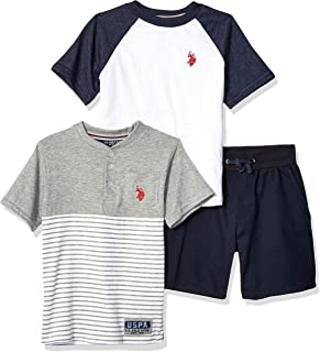 U.S. Polo Assn. Boys 8725 Short Sleeve T-Shirt, Henley, and Short Set Shorts Set - Blue