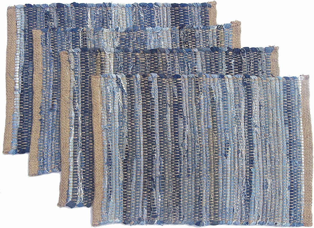 Chardin Home Eco Friendly Denim Jute Placemats Set Of 4 Size 14 X19