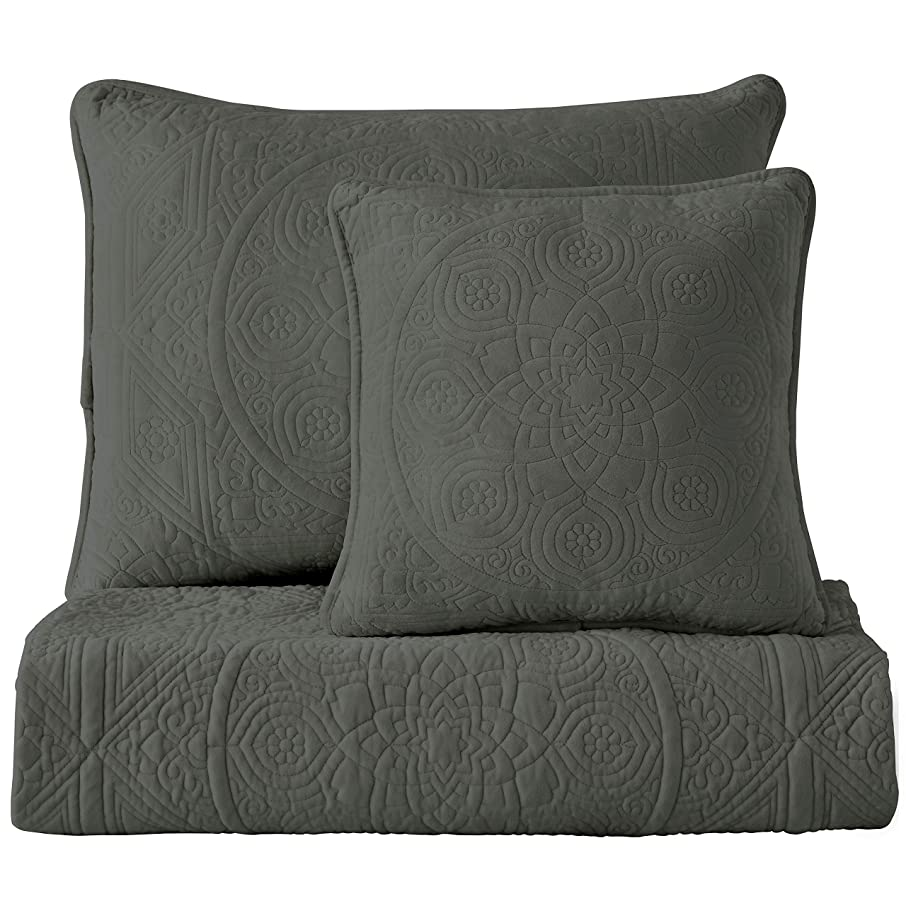 Maison Atlas Velvet Quilt, Charlotte Premium Velvet Collection, Cotton Backing, Cotton Batting, Twin, Dark Gray