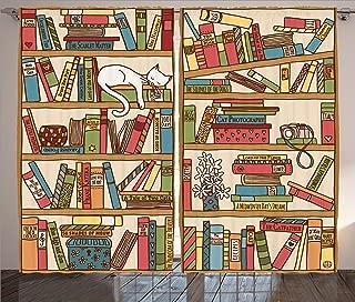 Ambesonne Cat Curtains, Nerd Book Lover Kitty Sleeping Over Bookshelf Library Academics Feline Boho Design, Living Room Bedroom Window Drapes 2 Panel Set, 108