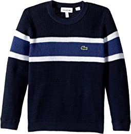 Lacoste Kids - Long Sleeve Knit Striped Sweater (Toddler/Little Kids/Big Kids)