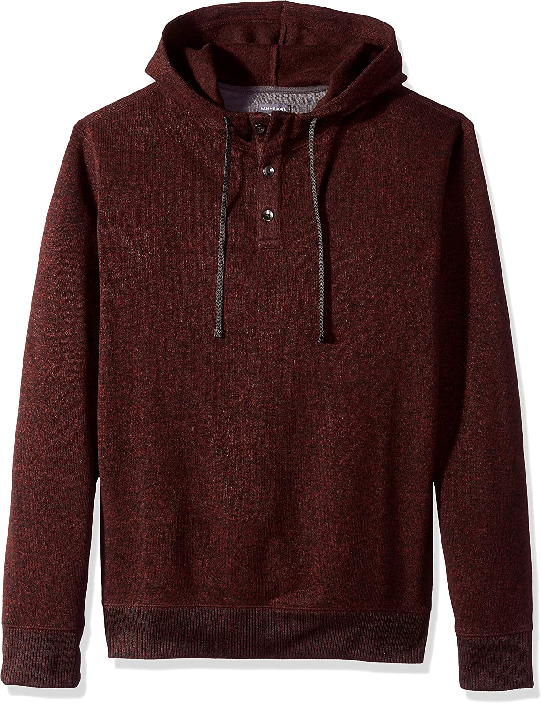 Van Heusen Men's Big and Tall Never Tuck Sweater Fleece Solid Hoodie Pullover