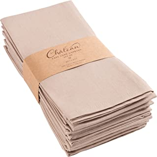 KAF Home Chateau Easy-Care Cloth Dinner Napkins - Set of 12 Oversized (20 x 20 inches) (Taupe)