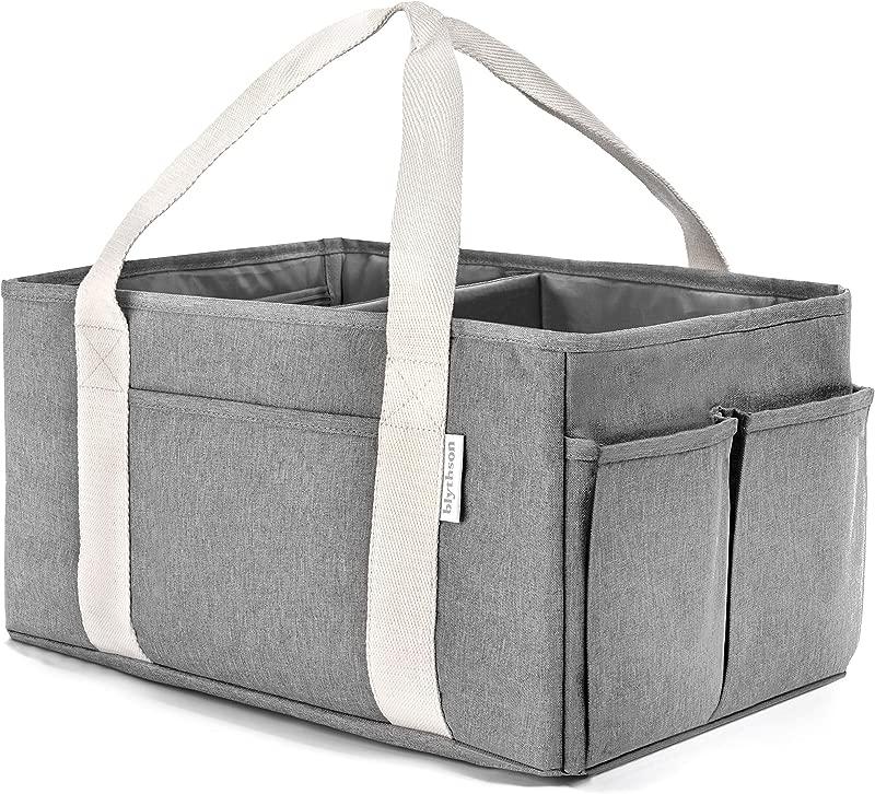 Blythson Baby Diaper Caddy Organizer Portable Nursery Storage Bin Gray