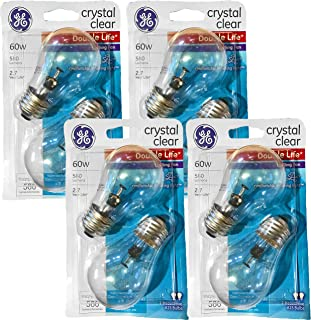GE Double Life 60-Watt, 580 Lumens Crystal Clear Ceiling Fan Light Bulbs (8 Bulbs)