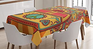 Ambesonne 70s Party Tablecloth, Hippie Vintage Mini Van Ornamental Backdrop with Peace Sign Artwork, Dining Room Kitchen Rectangular Table Cover, 52