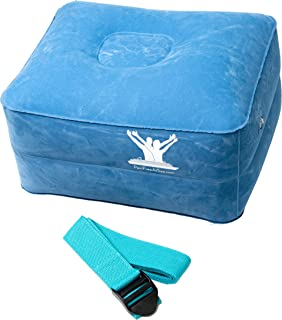 Pain Free-Posture Small INFLATABLE Block and HEALING Aqua Strap/Yoga Belt Bundle-Egoscue-For Resistance, Strength, Balance & Stability of Muscles & Joints of Shoulders/Hips/Pelvis/Knees/Ankles & Spine