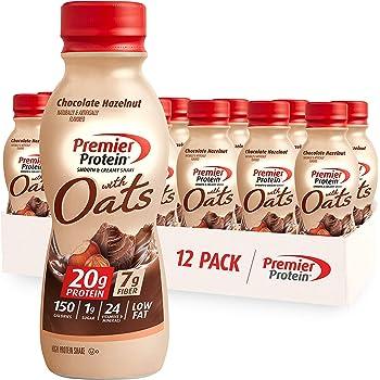 Premier Protein 20g Protein & Oats Shake, Chocolate Hazelnut 11.5 Fl Oz Bottle, (12 Count)