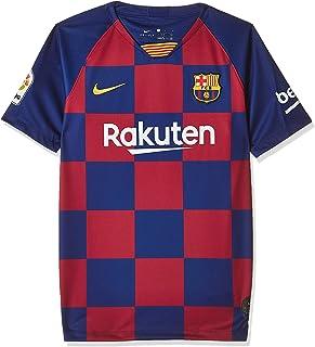 قميص جيرسيه بتصميم الطقم الأساسي لنادي برشلونة لكرة القدم للأولاد من نايك