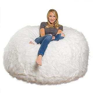 Comfy Sacks 6 ft Memory Foam Bean Bag Chair, White Furry