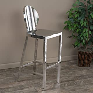 Christopher Knight Home 295633 Ajay Stainless Steel Bar Stool, Chrome Finish