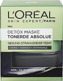 """L""""Oréal Paris Tonerde Absolue Detox Maske, Gesichtsmaske mit reiner Tonerde und Aktivkohle, entfernt Mitesser und sorgt für einen gesund-strahlenden Teint, 50ml"""