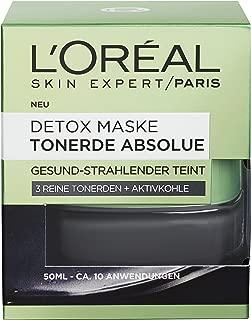 """L""""Oréal Paris Tonerde Absolue Schwarze Detox Maske mit Aktivkohle, entfernt Unreinheiten und Mitesser, 50 ml"""