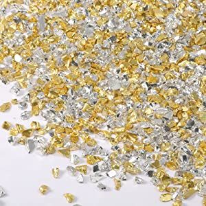 150 g Crushed Glass Irregular Metallic Chips, 2-4 mm Glitter Scattered Glass Chips for Nail Decor, Scrapbook Jewelry Making, Resin Projects Decorations Supplies (Gold and Silver)