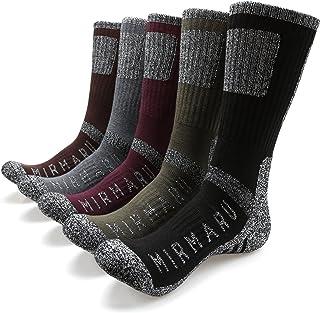 MIRMARU Men`s 5 Pairs Multi Performance Outdoor Sports Hiking Trekking Crew Socks