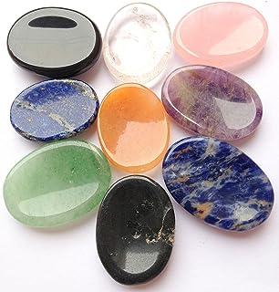 CRYSTALMIRACLE Beautiful Lot of Nine Gemstone Worry Stones Reiki Crystal Healing Wellness Gift Metaphysical Thumb Stone Po...